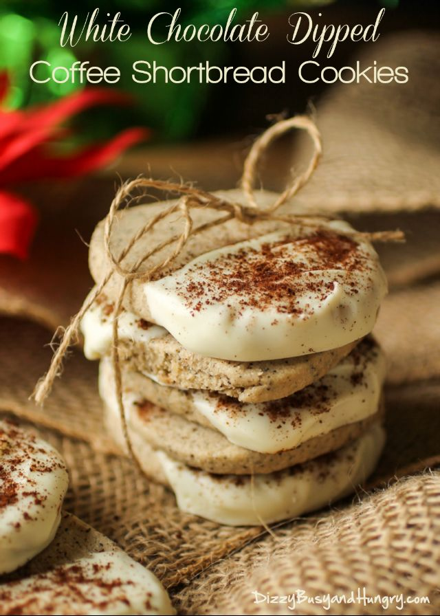 White Chocolate Dipped Coffee Shortbread Cookies | DizzyBusyandHungry.com - Delicious, elegant holiday shortbread cookies made with real coffee, dipped in white chocolate, and dusted with instant coffee powder!
