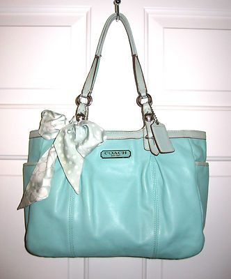 COACH 16565 EAST WEST GALLERY TOTE LEATHER HAND BAG PURSE TEAL W/