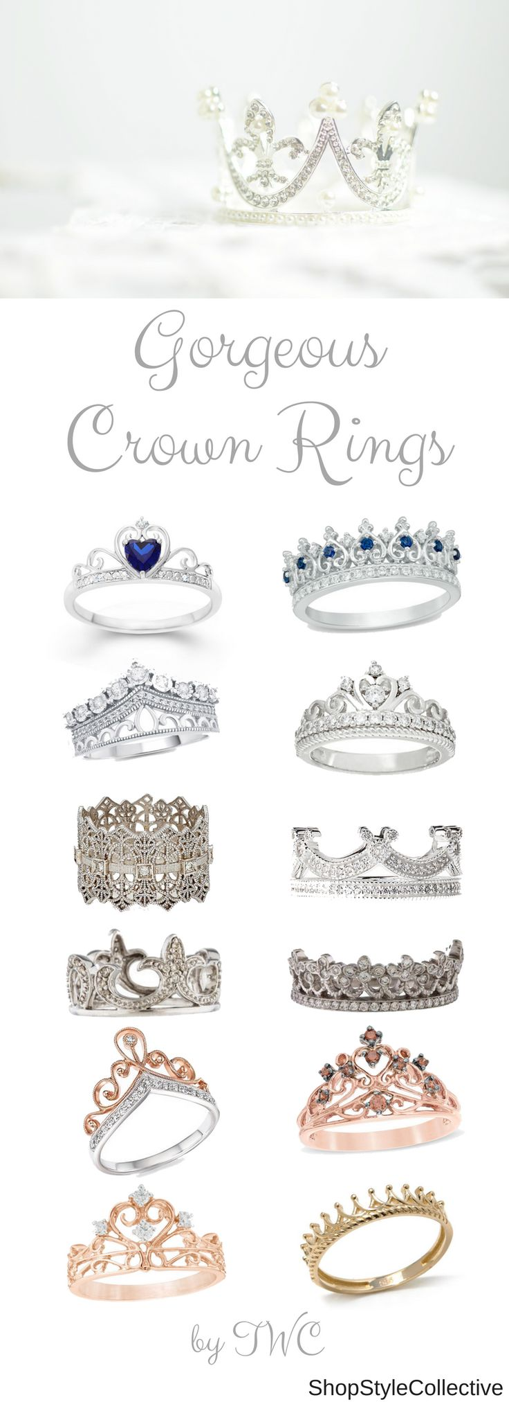 Crown rings have become quite popular on social media. There's is a sense of royalty to them. It has also become a trend to have a crown engagement ring or crown wedding ring. Check out this collection of stunning crown rings.