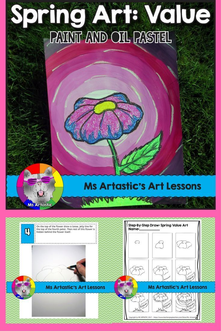 Students will learn about creating value in art through creating a Spring Flower, Value art piece using oil pastel or wax crayons and paint. Your students will really love this! This product is complete with a visual and text step-by-step (each step on it