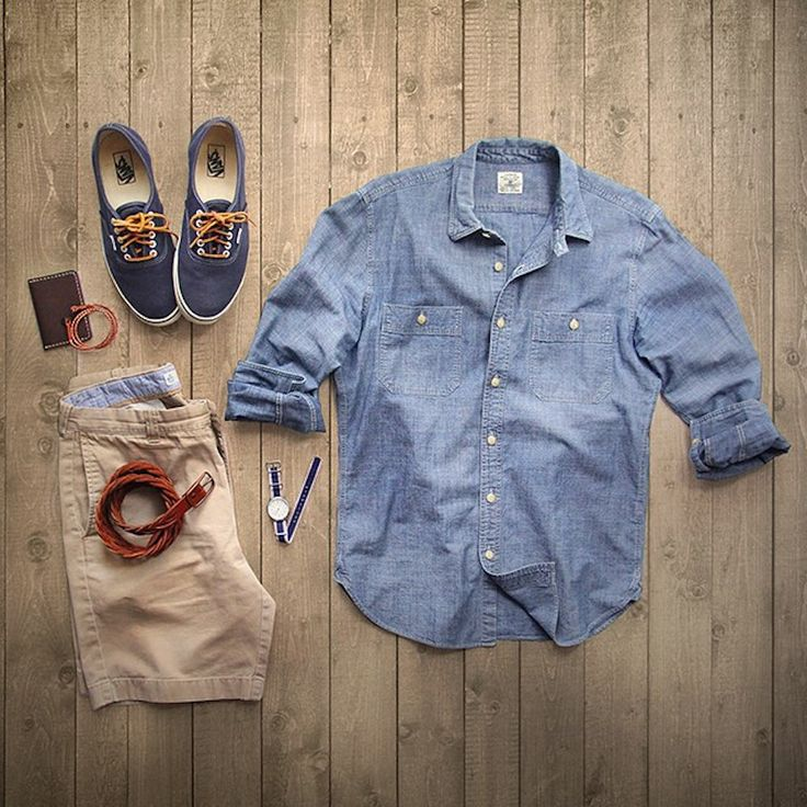 Date night- Nice button up shirt and khaki shorts and a belt, looks nice and is functional in most date night atmospheres. Shoes match and will be comfortable and appropriate as well.