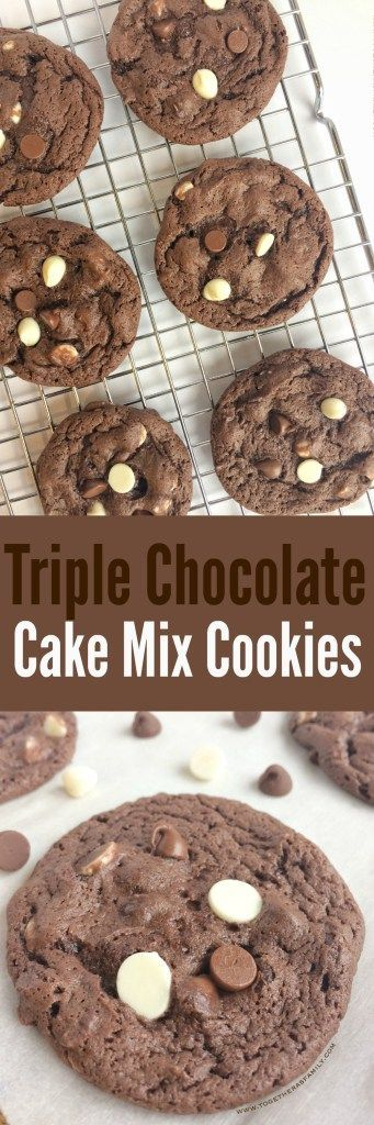 Triple Chocolate Cake Mix Cookies. Easy cookies made with a chocolate cake mix, milk chocolate chips, and white chocolate chips! These cookies are soft and fudgey.