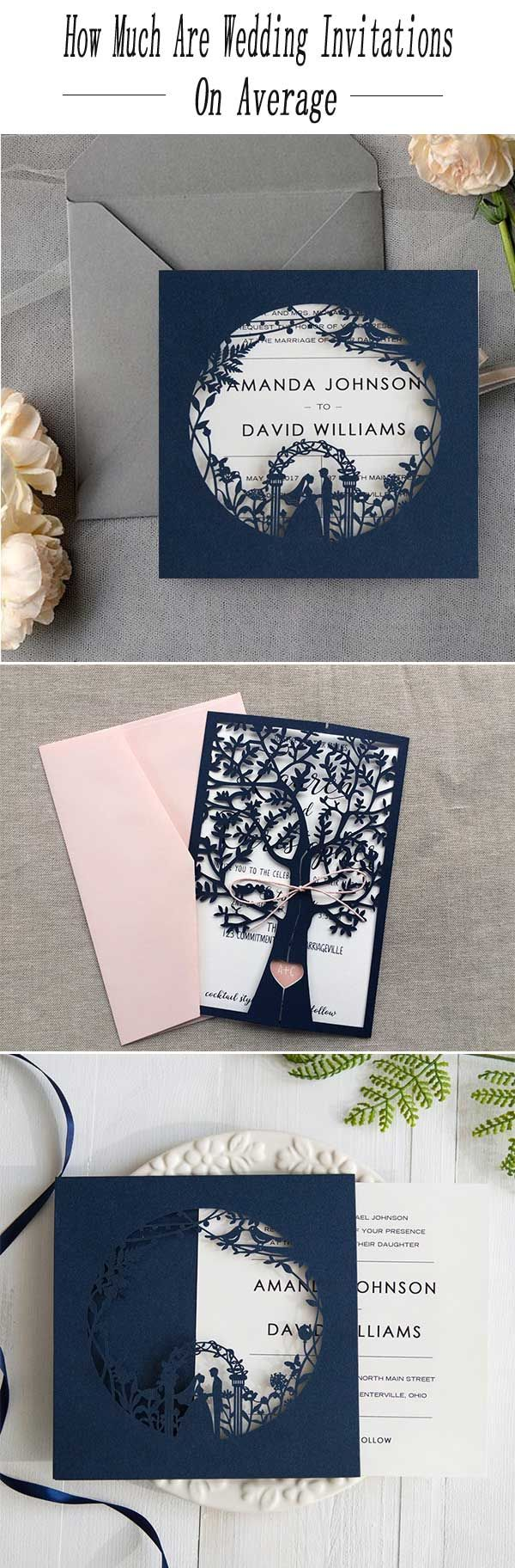 AVERAGE COST OF WEDDING INVITATIONS: HOW MUCH ARE THEY? - Wedding Invites Paper navy blue wedding invitation/ laser cut wedding invitations/ discount wedding invitation/  cheap wedding invitations