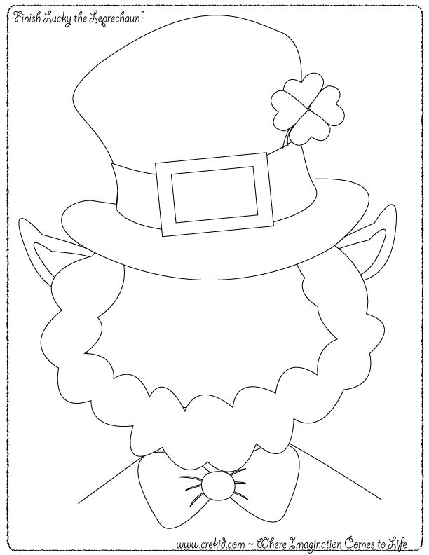 Finish Lucky the Leprechaun ~ Creative Kids St. Patrick's Day ~ St. Patrick's Day ~ Leprechaun ~ Luck ~ Clover ~ Four Leaf Clover ~ Rainbow ~ Luck Of the Irish ~ March ~ green ~ Pot Of Gold ~ Kindergarten ~ First Grade ~ 1st Grade ~ 2nd Grade ~ Second Grade ~ 3rd Grade ~ Third Grade ~ Activities ~ Printouts ~ Printable ~ Worksheets ~ St. Patrick's Day Theme ~ Preschool Themes ~ www.crekid.com ~ Where Creativity & Imagination Come to Life