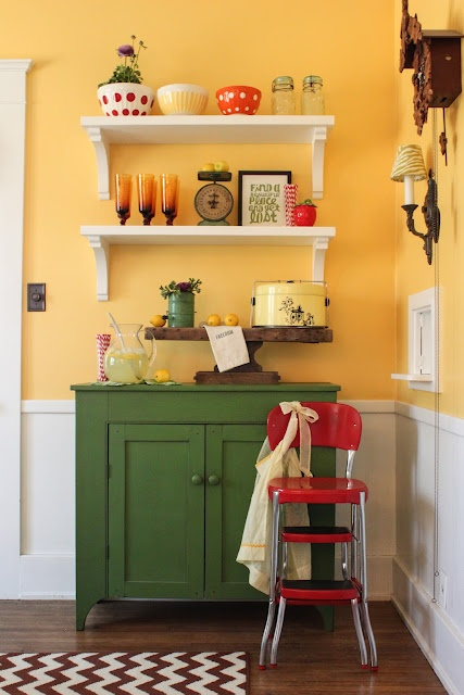 love the colors: Dining Rooms, Lemonade Stands, Ideas, Yellow Wall, Kitchens Wall, Wall Color, Add Fun, Diy Shelves, Kitchens Color