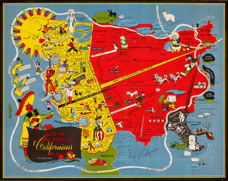 Oren Arnold Map Of The United States As Californians See It Humourous Map Depicts Oversized Los Angeles California Taking Up Most Of The Western Us With