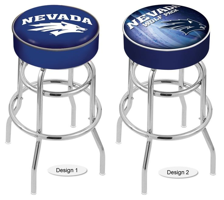 The NCAA officially licensed Nevada Wolf Pack Bar Stool has a 4-inch cushion with a tough double-ring base and a chrome finish. Free shipping. Excellent quality. Visit sportsfansplus.com for details.