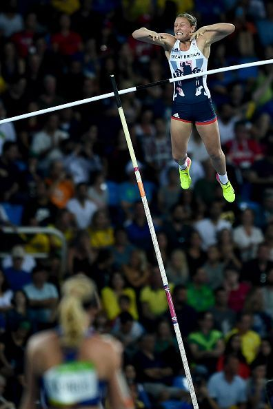 Holly Bradshaw of Great Britain competes in the Women's Pole Vault Final on Day…