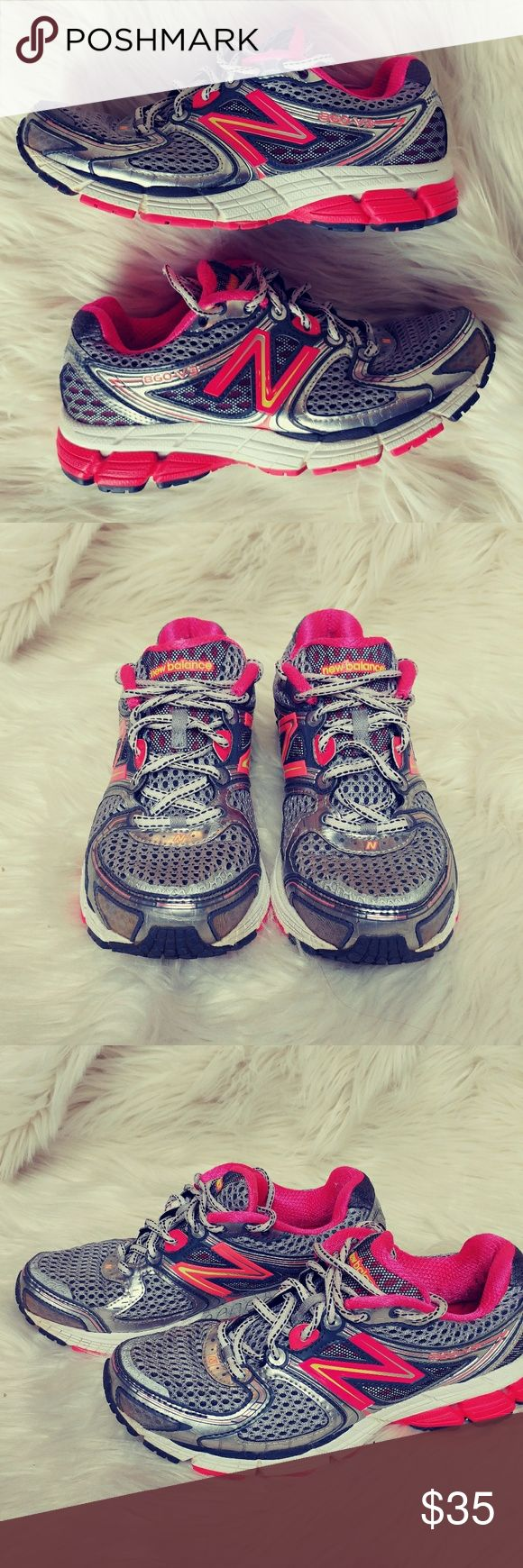 NEW BALANCE 860 V3 RUNNING SHOE EXCELLENT PRELOVED CONDITION, minimal wear, super clean. These have a pink lining and yellow and orange trim the shoe. Feel free to ask any questions BUNDLE FOR BETTER DISCOUNT New Balance Shoes Athletic Shoes