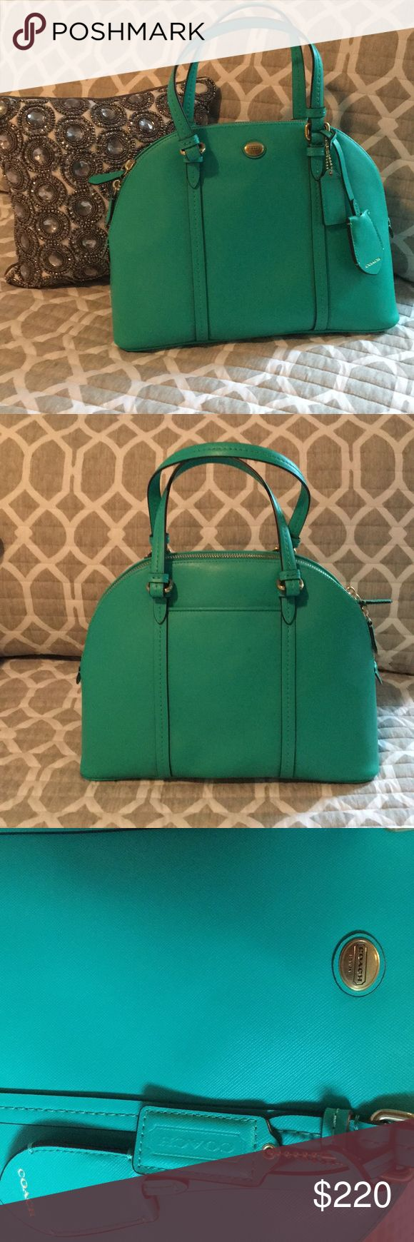Coach Peyton Leather Cora Domed Satchel Satchel in Jade and Gold. Never used! Sill have the tags and care instructions. Long strap for shoulder or cross body wear. Smoke free home! Purchased from Coach store, authentic. MFSRP $428.00 Paid 328.00 Coach Bags Satchels