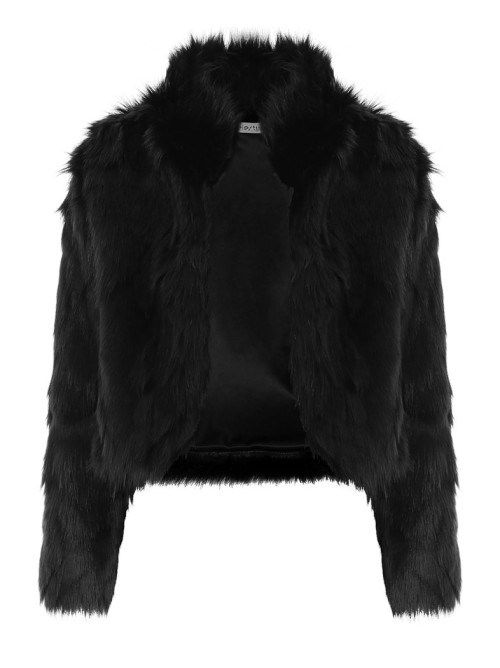 Μαύρο jacket από οικολογική γούνα