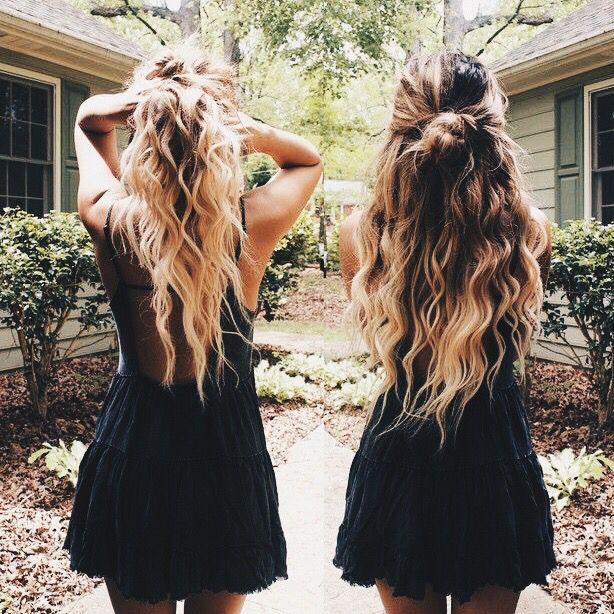 Wavy hair with a half up bun