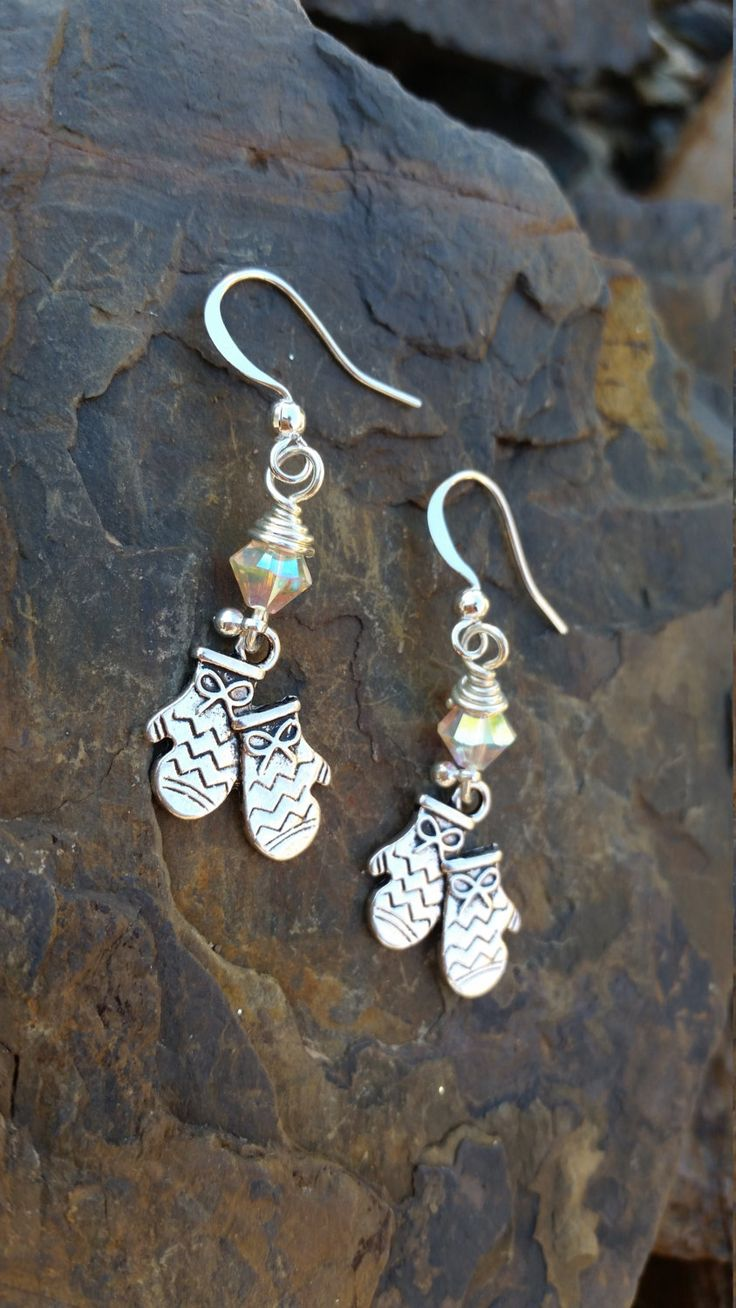 Silver Mittens Earrings / one of a kind / gift idea / winter /  holiday by JillTurrentineDesign on Etsy