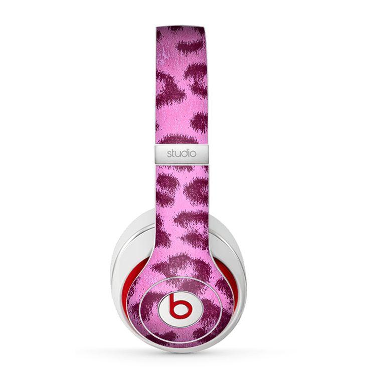 The Neon Pink Cheetah Animal Print Skin for the Beats by Dre Studio (2013+ Version) Headphones