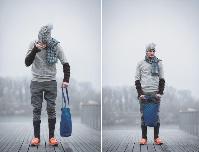 Chladivá zima, oblečenie a doplnky s potlačou snehovej vločky. Slovakia - winter - sweather - bag - hat - shoes - design - Bratislava