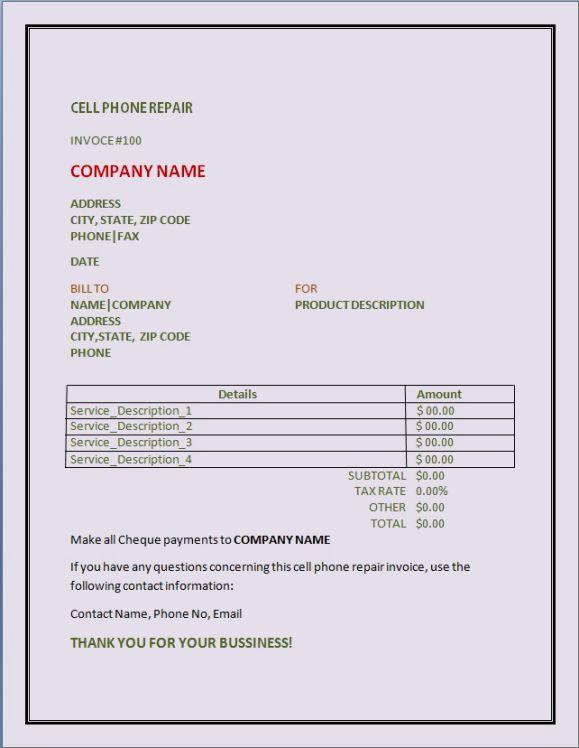 Cellphone Repair Invoice Product Invoice Template Cell Phone Repair Phone Repair