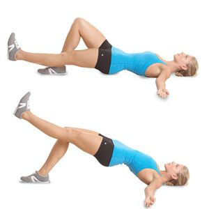 Lie faceup with your arms out to the sides, right knee bent, left leg straight and raised a few inches off the floor (a). Lift your leg until it's in line with your right thigh and push your hips upward, forming a straight line from shoulders to knees (b). Pause, then lower to start. Do all reps, then switch legs and repeat.