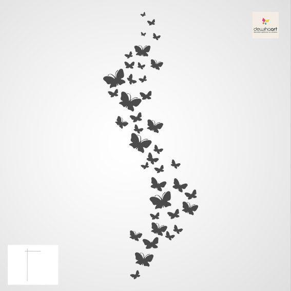 vlinders op de muur! Muursjablonen, Muurstickers