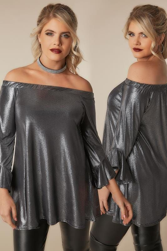 Party Tops LIMITED COLLECTION Metallic Silver Bardot Top With Flute Sleeves 210278