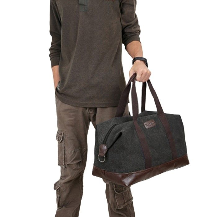 black Casual Unisex Canvas Large Capacity Solid Travel Tote - Tomtop.com