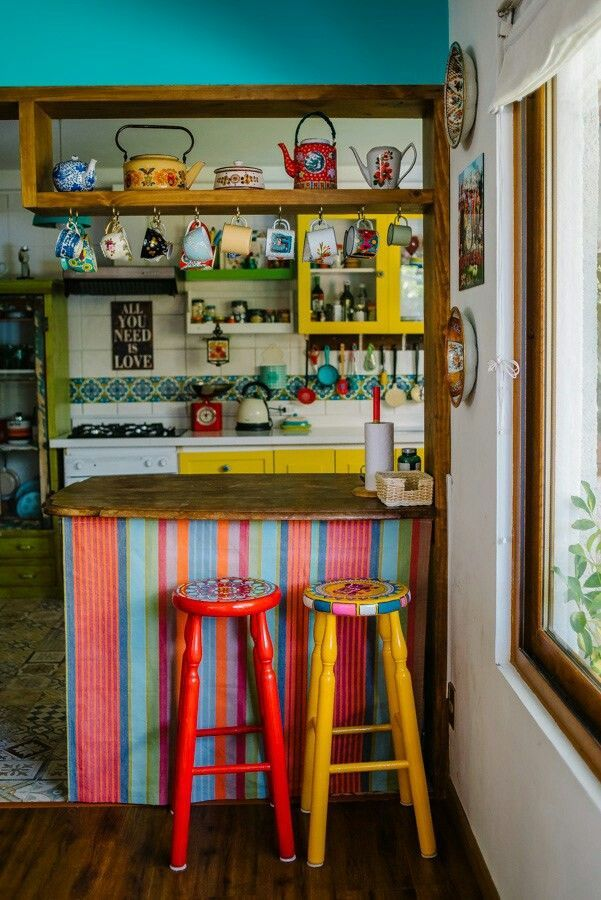 Extra Storage Above Connecting Counter Each Implement With A Different Coloured Head Bohemian Kitchen Sweet Home Boho Kitchen