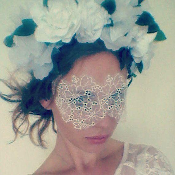 White Lace Face Mask - Masquerade Mask - Masquerade Wedding - Masquerade Ball - Boudoir Eye Mask via Etsy