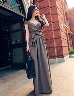 Women's+Solid+Blue/Khaki+Dress,Swing+Surplice+Neck+Sleeveless++–+MXN+$+429.91