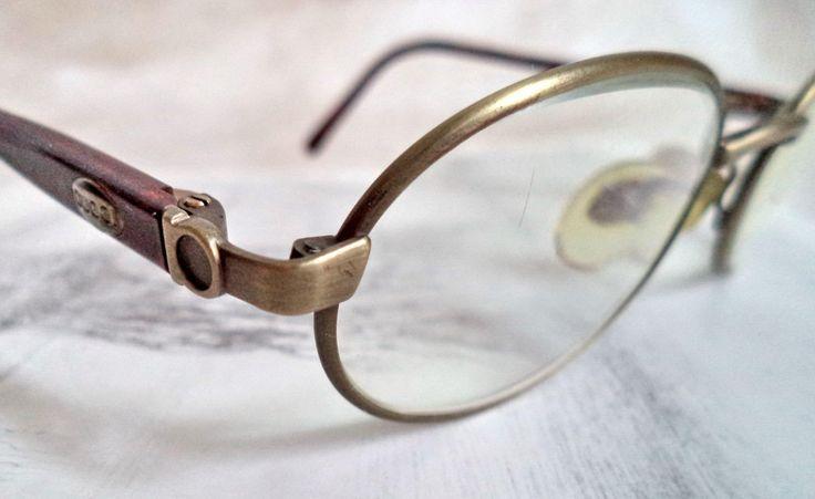 Gucci Antique Gold Wire Rim Eyeglasses Round Oval Model 1337 Size 48-20 GG Logo Designer Vintage Eyewear Gift Made in Italy by MushkaVintage3 on Etsy