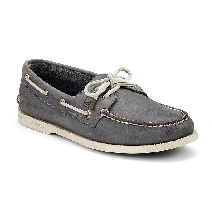Sperry Top - Men's A-O 2-Eye Burnished Boat Shoes - Dark Grey