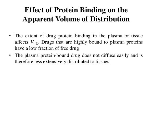 Effect of Protein Binding on the Apparent Volume of Distribution • The extent of drug protein binding in the plasma or tis...