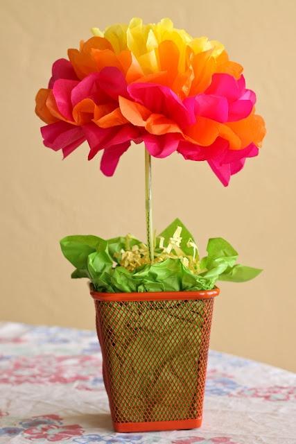 One Crafty Mama! easy tissue paper flower centerpiece