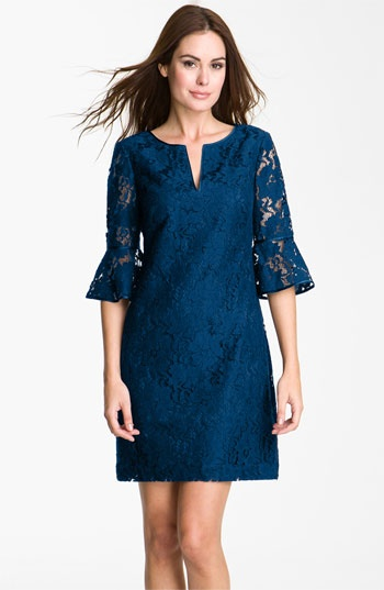Adrianna Papell Ruffle Sleeve Lace Dress available at #Nordstrom very pretty, and sophisticated.