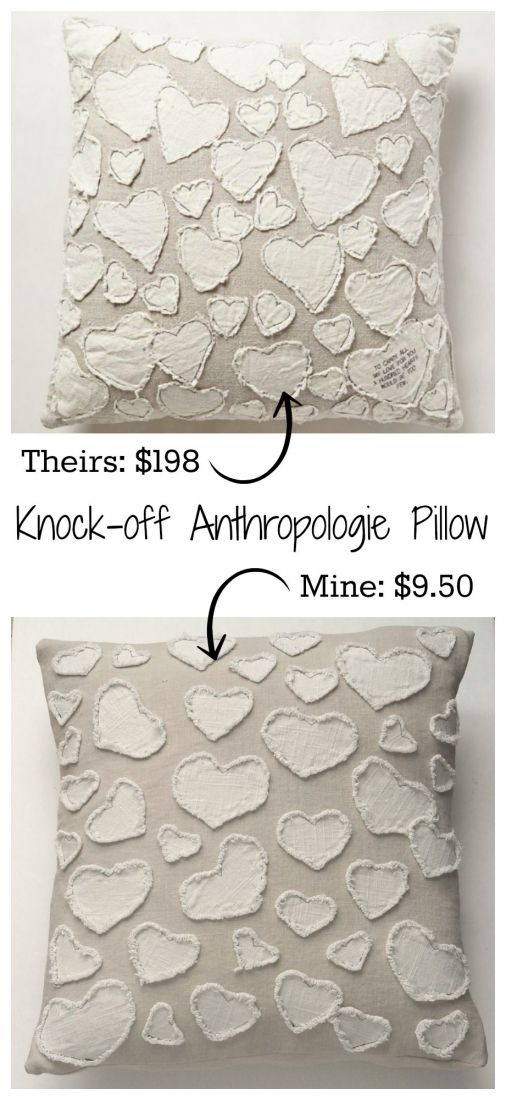 Learn how to make this $198 heart pillow from Anthropologie for less than $10!