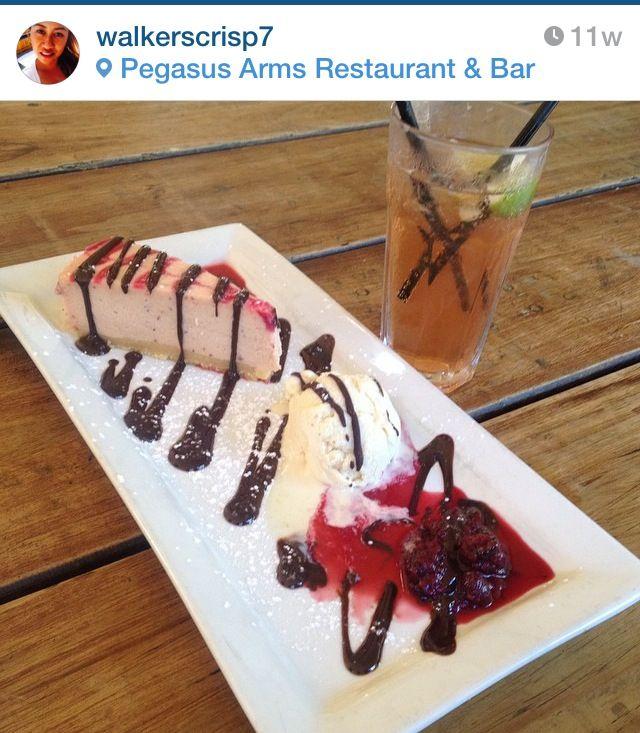 Desert: strawberry and white chocolate cheesecake