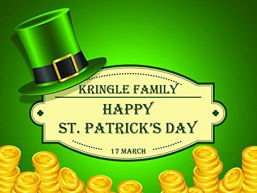 Custom Home Decor Irish Coins Happy St. Patrick's Day Poster - Size 24x36, 48x24, 48x36; Personalized St. Patty's Gold and Chimney Pot Hat Party Banner Wall Décor; Handmade Party Supply Poster Print