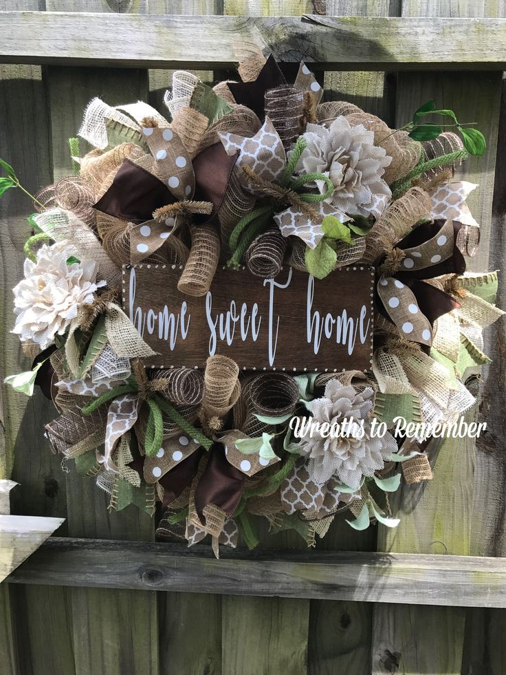 Beautiful Burlap Wreaths With Home Sweet Home Handmade Sign. Burlap Flowers And Multi  Textures And Patterned Ribbons Complete This Look.