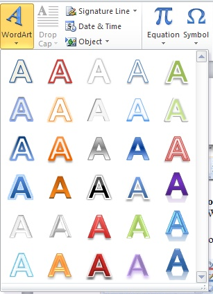 Using the New WordArt Effects in MS Word 2010