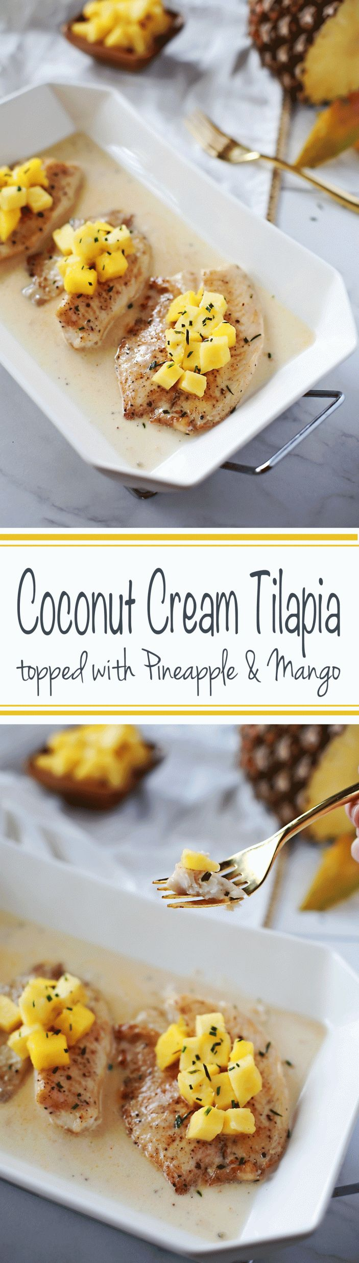 Coconut Cream Tilapia topped with Mango and Pineapple. Amazing Paleo and Whole 30 friendly recipe by Flirting with Flavor!
