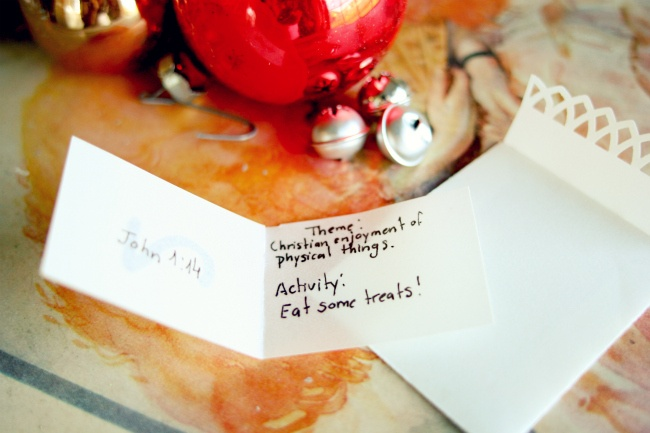 Advent cards: Scripture reading with a (sorta) related activity #christmasChristmas Food, Advent Cards, Scriptures Reading, Gift Ideas, Activities Christmas
