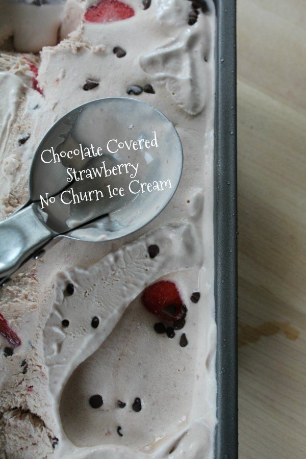 Chocolate Covered Strawberry No Churn Ice Cream