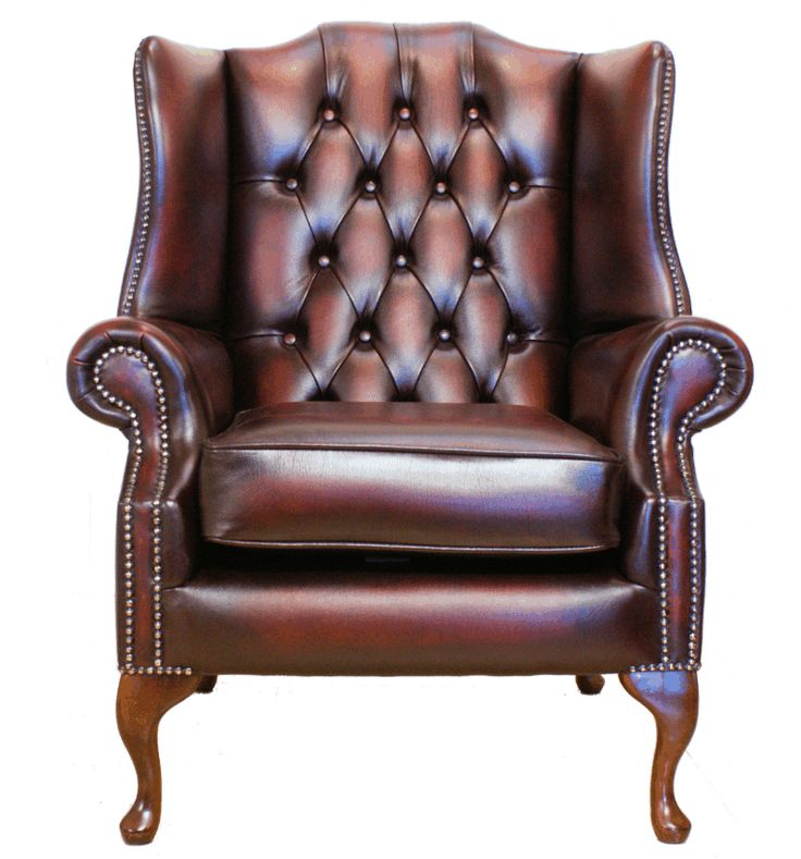 Chesterfield flat wing queen anne high back chair fireside for High back leather chairs
