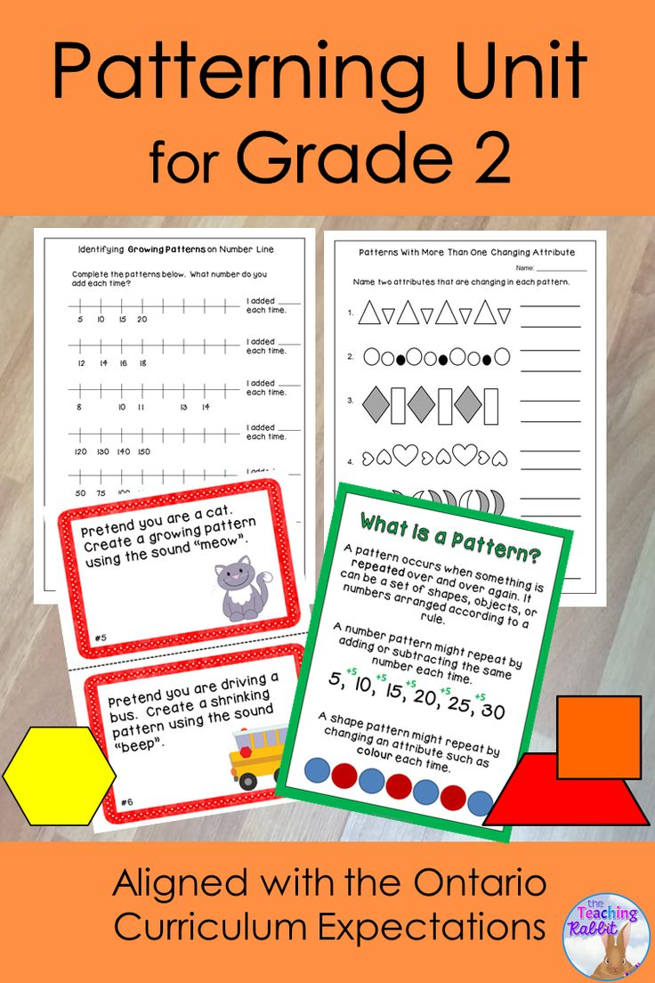 This Patterning Unit for Grade 2 deals with creating and extending repeating, growing and shrinking patterns.  It contains lesson ideas, posters, activities, worksheets, and a unit test. It is based on the Ontario Curriculum Expectations for second grade.