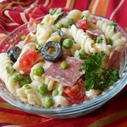 American-Italian Pasta Salad-can be adjusted as follows; 1/2 cup green onion, 1/2cup more peas, 1cup low-fat buttermilk mixed with mayonnaise and ranch dressing.