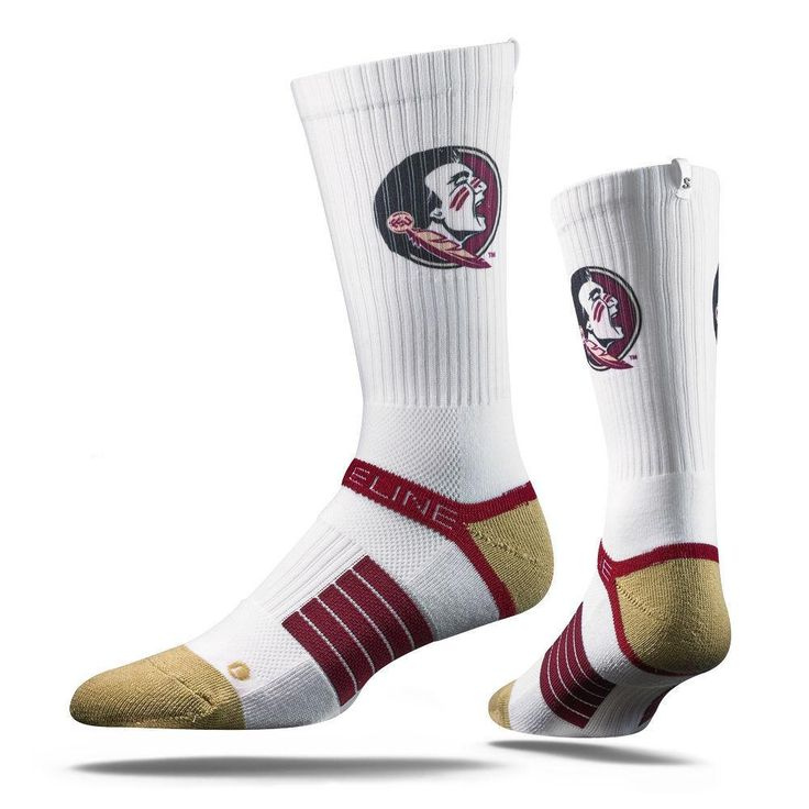 Strideline® 2.0 Seminole Florida State FSU White Garnet Gold Crew Socks