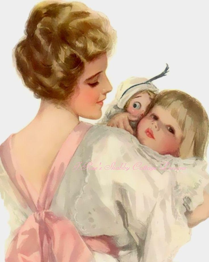 Открытка старинная с днем мамы, клеить