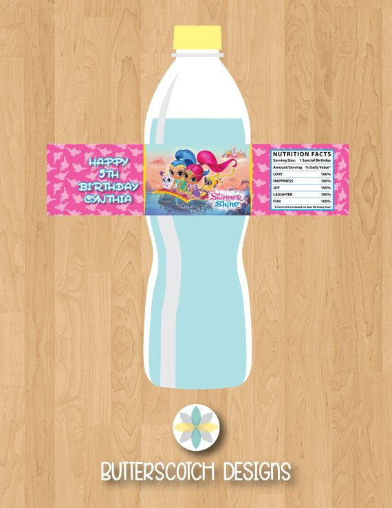 Etsy $6.00 Shimmer and Shine Birthday Personalized Birthday Water Bottle Labels Printable/Digital File by ButterscotchDesign