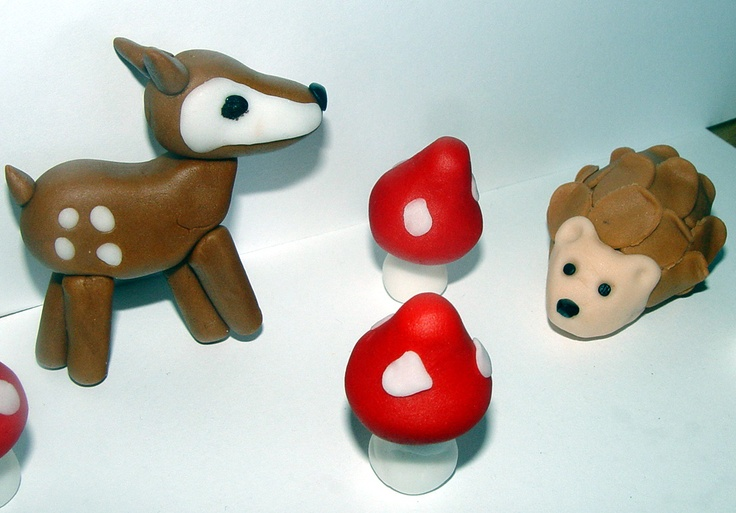 Fondant Woodland Themed Cake/Cupcake Toppers $22