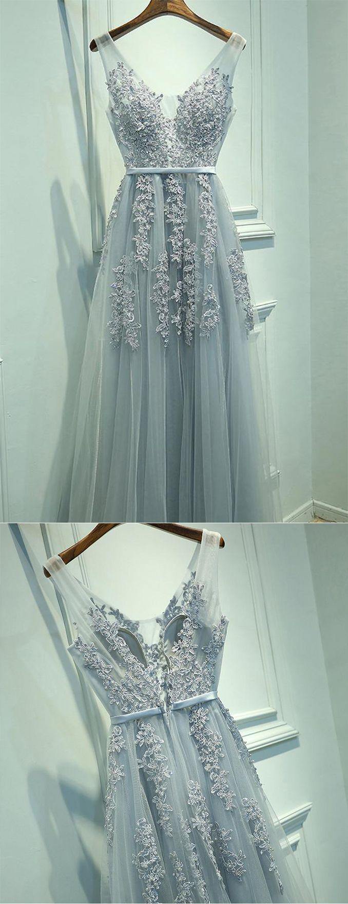 Gray Chiffon Long V-neck Evening Dresses, A Line Applique Prom Dress #gray #long #prom #tulle #evening #OKDRESSES
