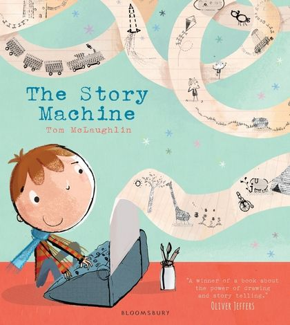 The Story Machine – Review Our weekend post was fabulous. As well as several Christmas cards, we had books. Boo was beside herself! This is our review of the first one.. The Story Machine by Tom McLaughlin Elliott is a boy who likes to find things and, one day, he stumbles across a machine. At first, he can't work out what