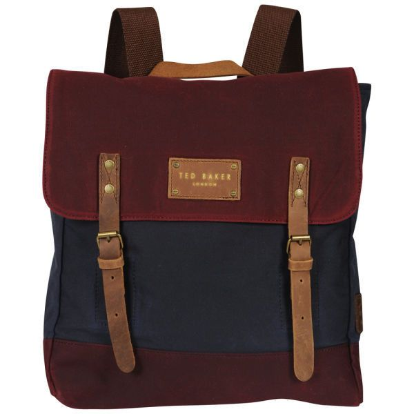 Ted Baker Blokruk Colour Block Waxed Canvas Rucksack - Dark Red ($160) ❤ liked on Polyvore